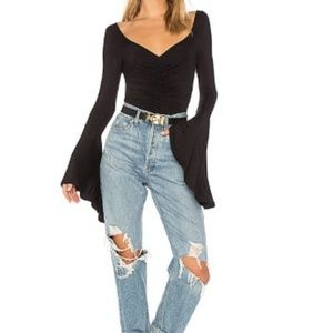 Free People What a Babe Tee Black Large A1615